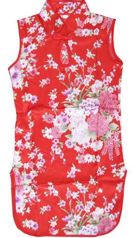 Girls Dress Artificial Silk Cheongsam Hot Pink Children Clothing Size 12M-8 Years