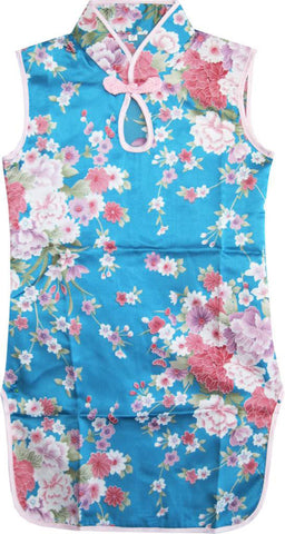 Girls Dress Blue Flower Silk Cheongsam Chinese Children Clothing Size 12M-8 Years