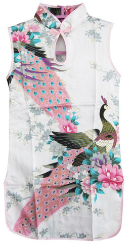 Girls Dress White Peacock Artificial Silk Cheongsam Chinese Kids Clothing Size 12M-8 Years