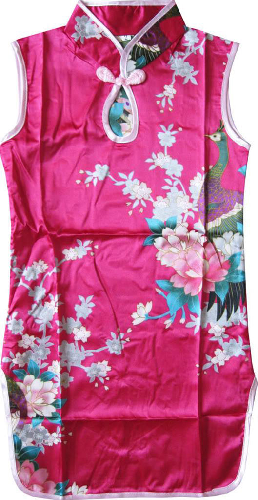 Girls Dress Peacock Artificial Silk Cheongsam Chinese Children Clothing Size 12M-8 Years