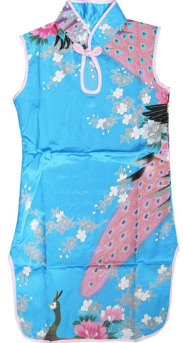 Girls Dress Blue Peacock Silk Cheongsam Chinese Children Clothing Size 12M-8 Years
