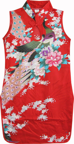 Girls Dress Red Peacock Silk Cheongsam Chinese Children Clothing Size 12M-8 Years