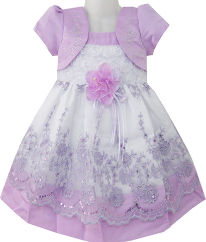 2-in-1 Girls Dress Purple Pageant Lace Flower Wedding Party Kids Clothes Size 12M-5 Years