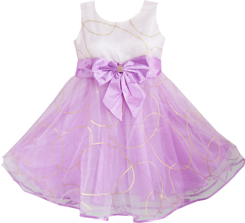 Kids Girls Dress Bridesmaid Tulle Party Wedding Pageant Size 2-10 Years Purple
