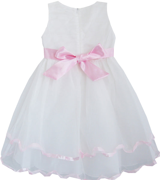 Girls Dress White Pearl Rose Bow Tie Wedding Pageant
