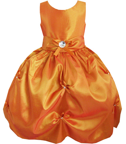 Girls Dress Bronze Pleated Flower Wedding Party Size 4-12 Years