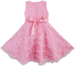 3 Layers Girls Dress Pink Feather Tulle Bridesmaid Size 4-12 Years