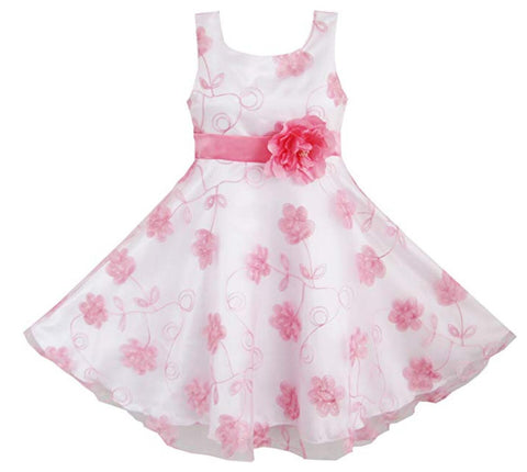3 Layers Girls Dress Pink Embroidered Flower Tulle Bridesmaid Party Kids Size 4-12 Years