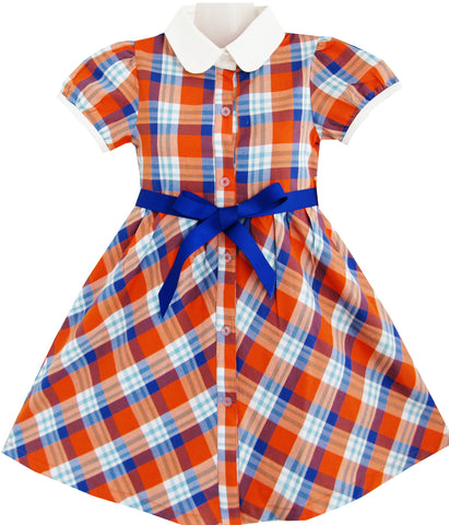 Girls Dress White Collar Orange Blue Plaid Checks School Uniform Kids Size 4-10 Years