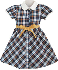 Girls Dress White Collar Gray Navy Blue Plaid Checks School Uniform Kids Size 4-10 Years