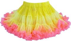 Girls Dress Yellow Tutu Dancing Pink Trim Pageant Party Kids Clothes Size 2-7 Years