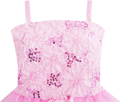 Girls Dress Tank Embroidered Pink Flower Trimmed Wedding Size 4-10 Years