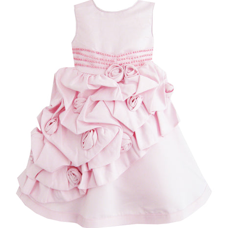 Girls Dress Pink Flower Trimmed Wedding Children Clothes Size 12M-5 Years