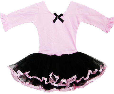 Girls Dress Tutu Ballet Dancing Belt Trimmed Layers Pink Kids Clothes Size 2-6 Years