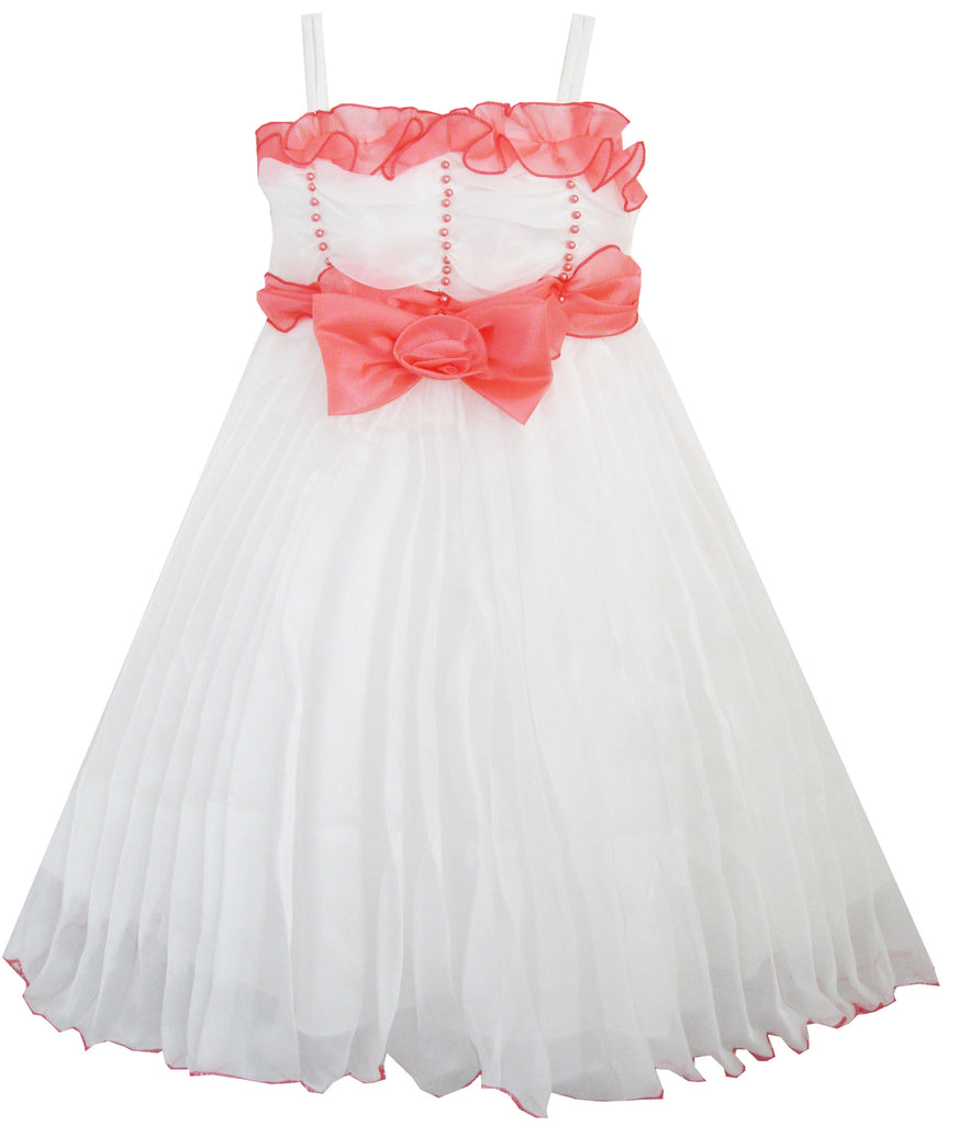 Girls Dress White Pleated Tank Bridesmaid Wedding Flower Girl Size 4-8 Years
