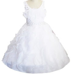 Girls Dress White Diamond Pleated Pageant Bridesmaid Wedding Flower Girl Size 6-10 Years