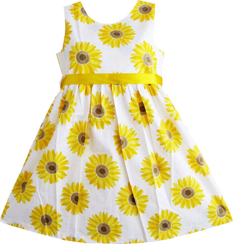 Girls Dress Yellow Sunflower School Party Size 2-10 Years