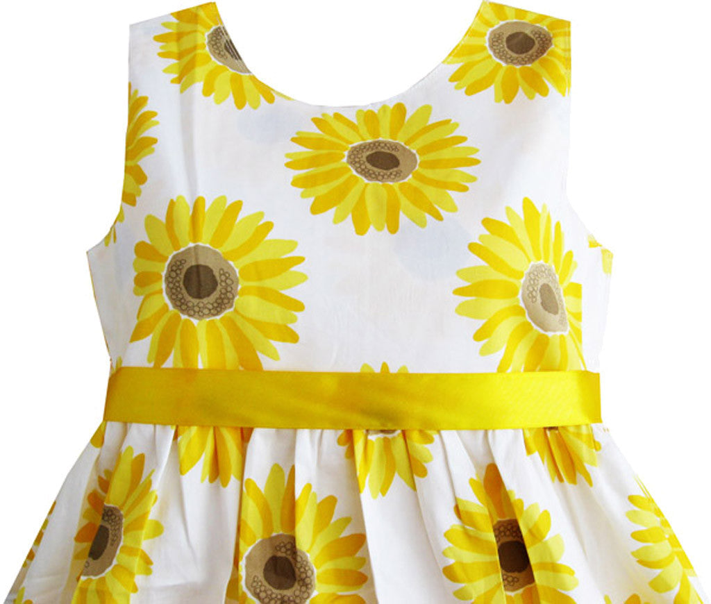 Girls Dress Yellow Sunflower School Party Sunny Fashion
