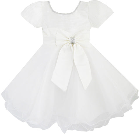 Girls Dress White Pageant Pleated Tulle Wedding Bridesmaid Child Clothes Size 12M-8 Years