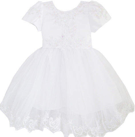 Girls Dress White Pageant Embroidered Lace Trim Wedding Bridesmaid Size 12M-8 Years