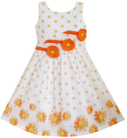 Girls Dress Orange 3 Sunflower Party Birthday Size 6-14 Years