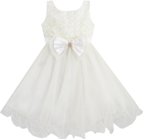 Girls Dress Flower Bridesmaid Wedding Pageant Tulle Pearl Size 2-10 Years