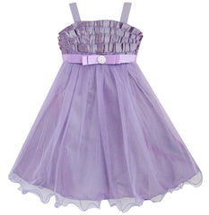 Girls Dress Purple Tulle Tank Bridesmaid Birthday Kids Clothes Size 3-6 Years