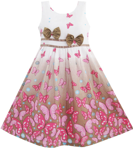 Girls Dress Brown Butterfly Double Bow Tie Party Size 4-12 Years
