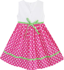 Girls Dress Pink Dot Flower Embroidered Size 2-6 Years