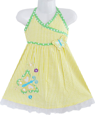 Girls Dress Yellow Tartan Two Butterfly Embroidered Tank Size 12M-5 Years