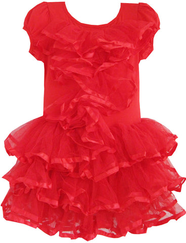 Girls Dress Red Tulle Tutu Dancing Party Kids Size 2-6 Years