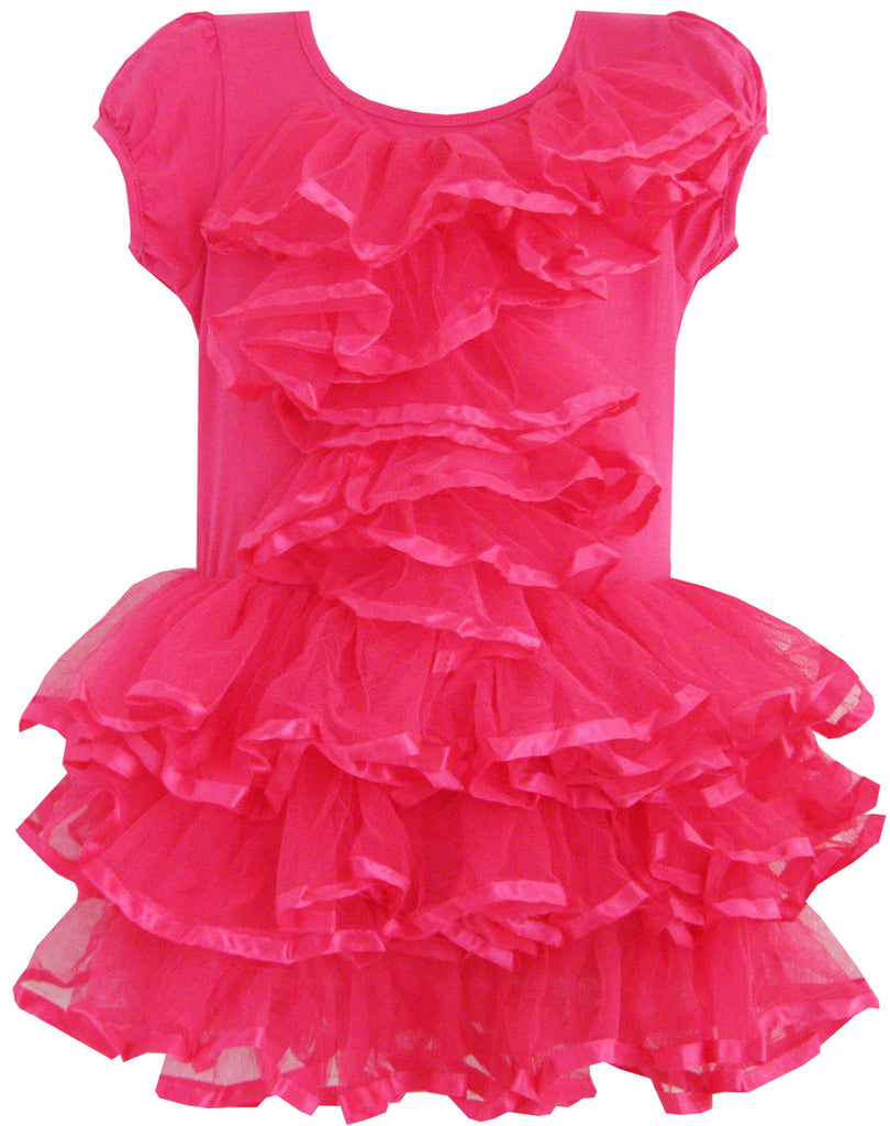 Girls Dress Peach Pink Tulle Tutu Dancing Party Size 2-6 Years