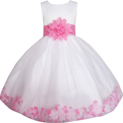 Girls Dress White Pink Flower Wedding Bridesmaid Christmas Holiday Size 2-14 Years