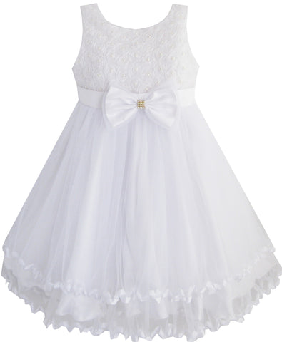 Girls Dress White Pearl Tulle Layers Wedding Pageant Flower Girl Size 2-10 Years