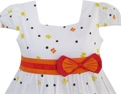 Girls Dress Short Sleeve Butterfly Dot School Size 12M-10 Years