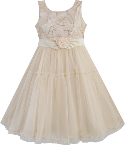 Girls Dress Shinning Sequins Beige Tulle Layers Wedding Pageant Size 2-10 Years