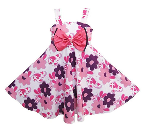Girls Dress Pink Tank Flower Bow Tie Beach Sundress Child Size 3-7 Years