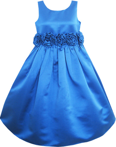 Girls Dress Blue Shinning Wedding Pageant Bridesmaid Size 4-12 Years