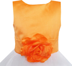 Girls Dress Orange Flower Tulle Wedding Pageant Bridesmaid Size 2-14 Years