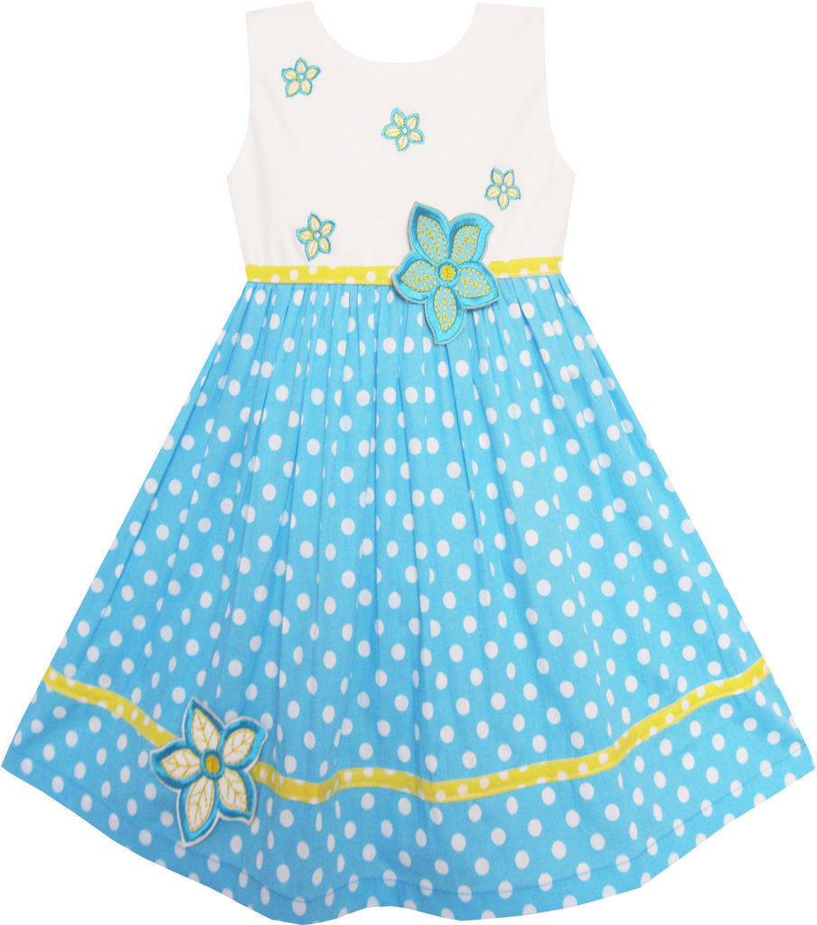 Girls Dress White Dot Blue Embroidered Flower Party Size 2-6 Years