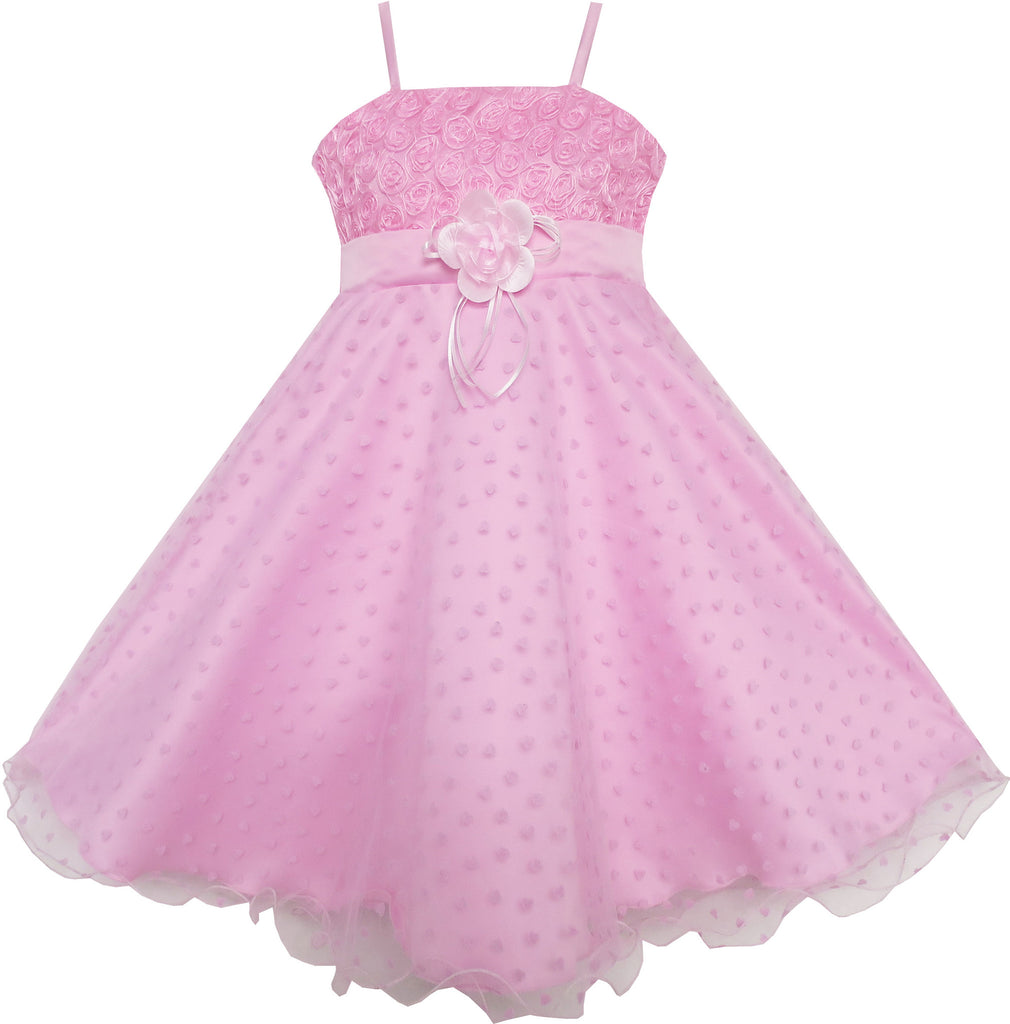 Girls Dress Flower Pink Rose Tank Wedding Pageant Size 5-8 Years