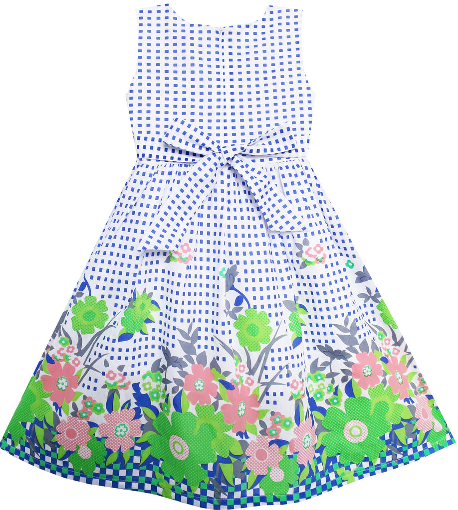 Girls Dress Double Bow Tie Green Flower Sunny Fashion