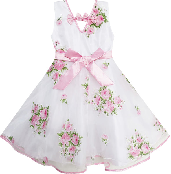 Girls Dress Pink Flower Wedding White Princess Unique Bow
