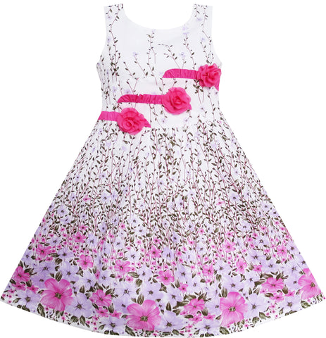 Girls Dress 3 Pink Flower Leaves School Party Size 6-14 Years