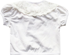 Girls Dress White Top Vest Shrug Lace Flower Pearl Short Sleeve Kids Size 2-10 Years