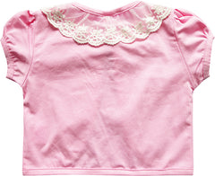 Girls Dress Pink Top Vest Shrug Lace Flower Pearl Short Sleeve Kids Size 2-10 Years