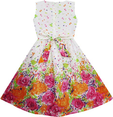 Girls Dress Butterfly Bow Tie Floral Birthday Size 4-12 Years