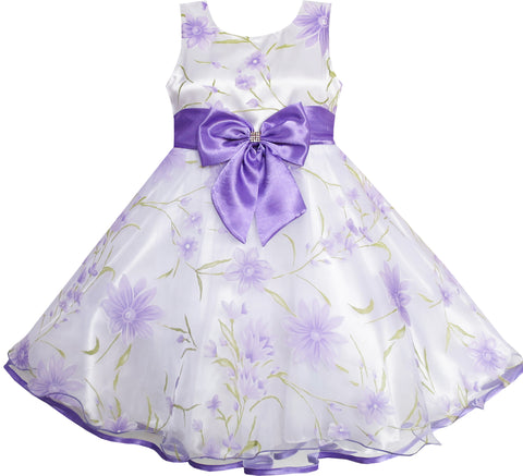 3 Layers Girls Dress Diamond Bow Tie Purple Girl Size 2-10 Years