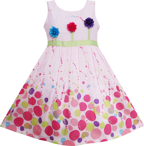 Girls Dress Colorful Dot 3 Flower Green Belt Party Birthdayren Size 4-12 Years