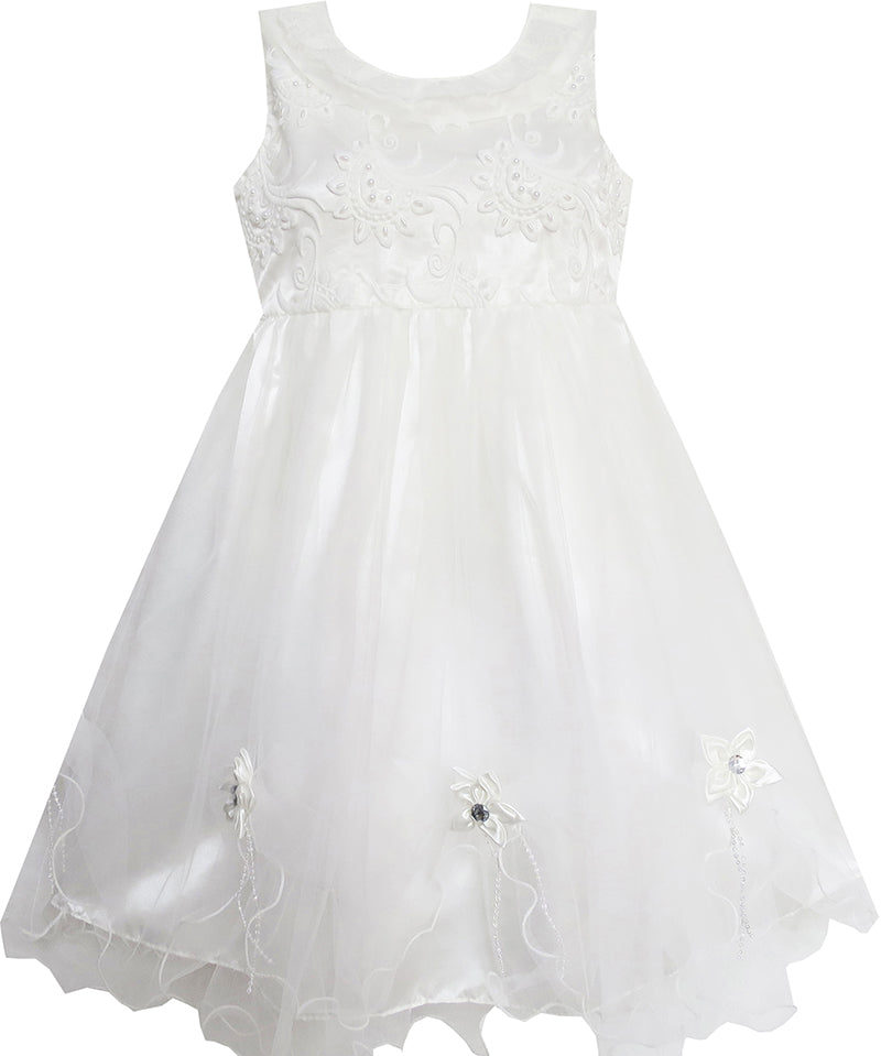 Girls Dress White Flower Embroidered Lace Collar Bridesmaid Wedding Size 5-12 Years